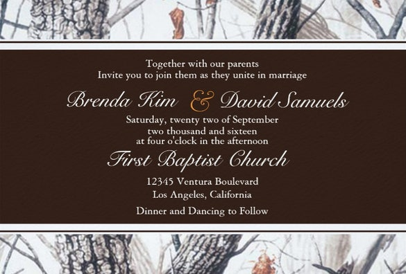winter camo wedding invitation