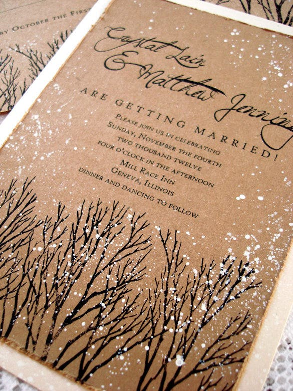 winter wedding invitation tree hand stamped and painted