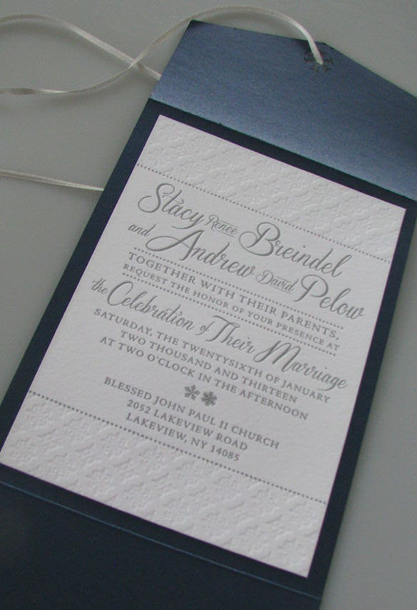 letterpress wedding invitation for winter themed wedding