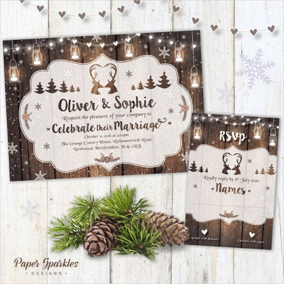 Winter Wedding Invitation JPG PSD Indesign Format Download - Wedding invitation templates: winter wedding invitation templates free