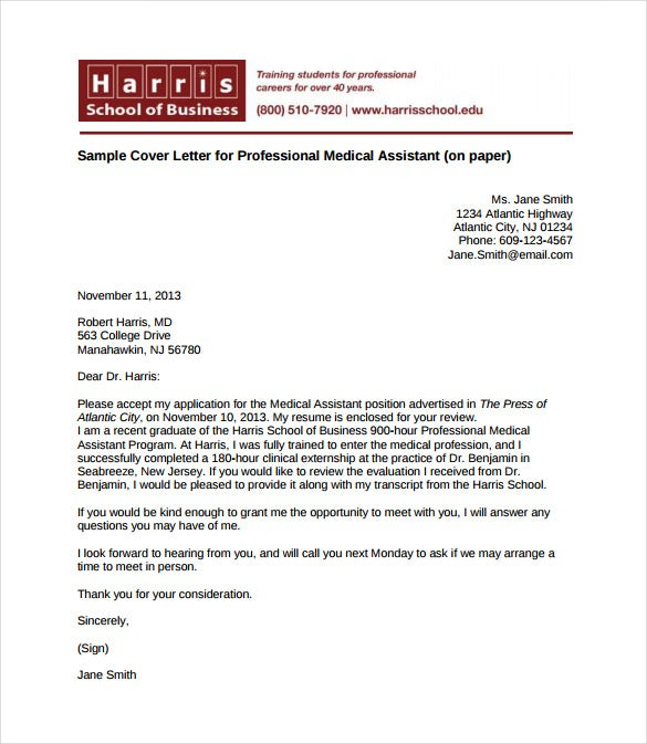Superb Lovely Cover Letter For Professional Medical Assistant PDF Format Free  Download