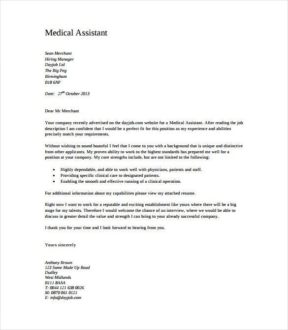 6 medical cover letter templates free sample example for Cover letter for medical administrative assistant position