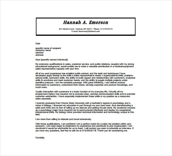 Exceptional Medical Equipment Sales Cover Letter Sample PDF Template Free Download