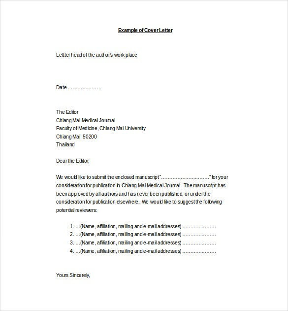 medical journal cover letter word template free download