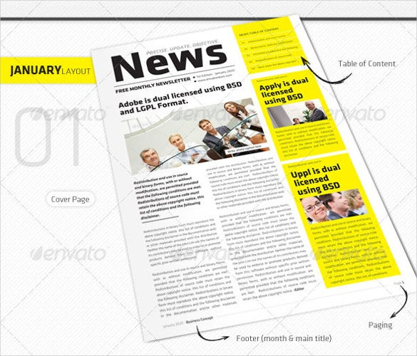 Monthly Newsletter Template   Psd Pdf Documents Download  Free
