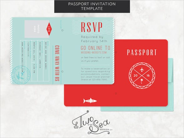 passport wedding party invitation template