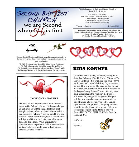 church monthly newsletter template