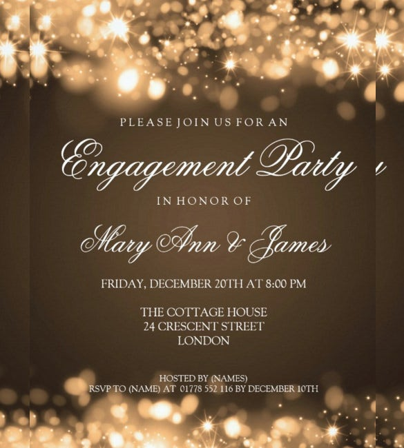 Wedding Engagement Party Invitation In Sparkling Lights  Engagement Party Invitation Template