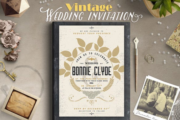 vintage wedding party invitation iii