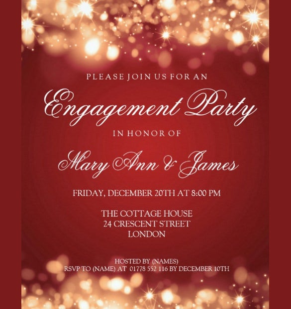 wedding engagement party sparkling lights gold paper invitation card