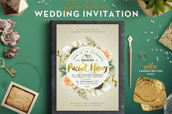golden foil wedding invitation