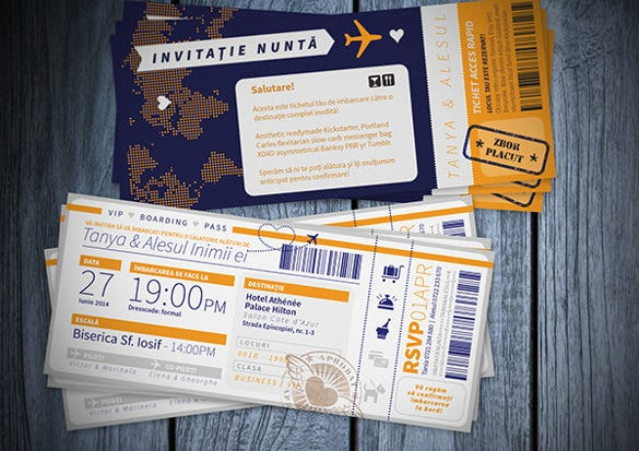 wedding party invitation custom flight ticket