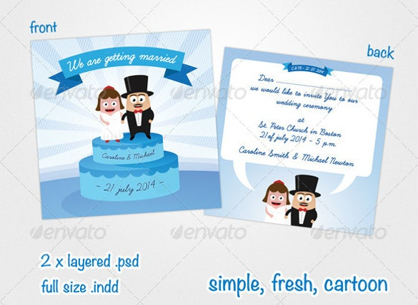 Funny Wedding Invitation PSD JPG Format Download Free - Cute wedding invitation templates