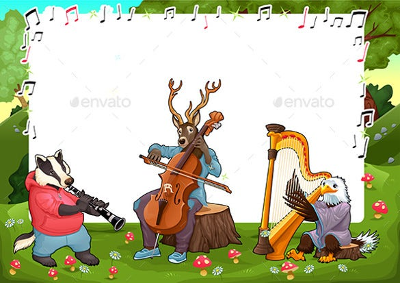 funny card with music animals