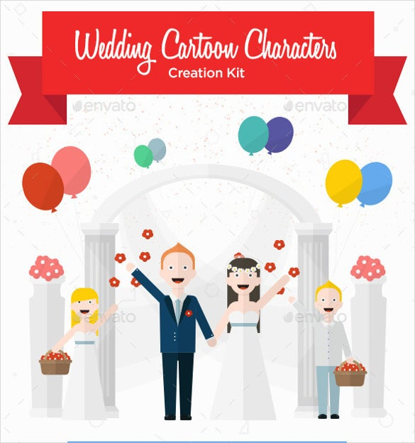 cute wedding cartoon characters creation kit