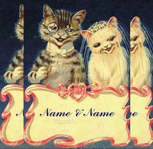 two cats funny wedding invitation