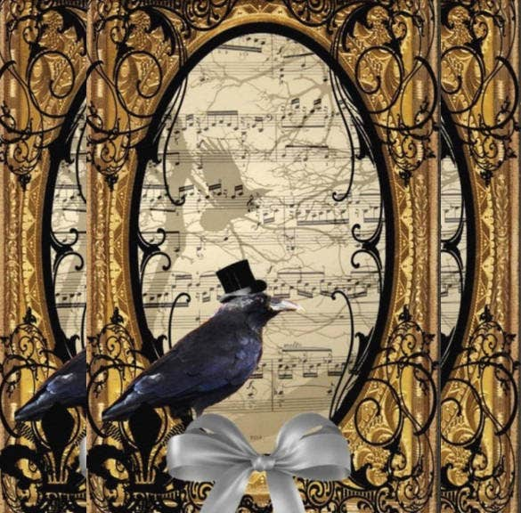 funny vintage gothic wedding crow