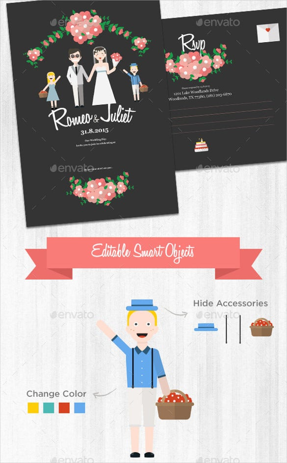 cute wedding invitation and rsvp card