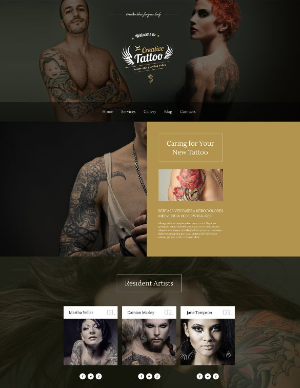 creative tattoo store wordpress php theme
