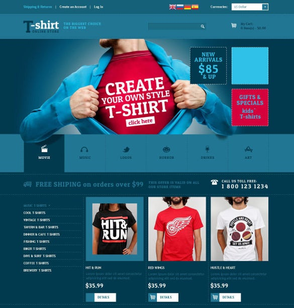 creative tshirt designs oscommerce php template