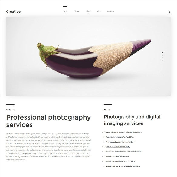 art photography wordpress php theme