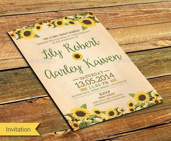 21 Sunflower Wedding Invitation Templates Free Sample Example – Wedding Invitation Sample Format