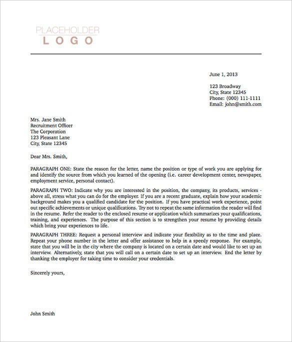 Sample Cover Letter Example Template: 5+ Latex Cover Letter Templates
