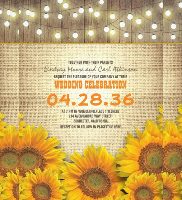 Sunflower Rustic Wedding Invitation Template