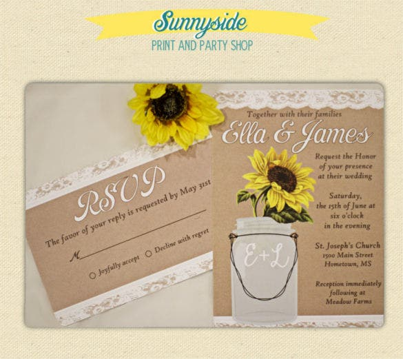 21 Sunflower Wedding Invitation Templates Free Sample Example