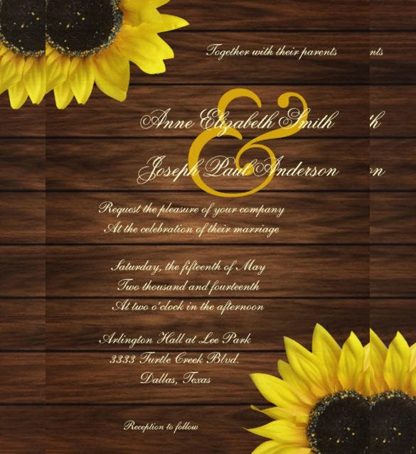 22  sunflower wedding invitation templates  u2013 psd  ai  word