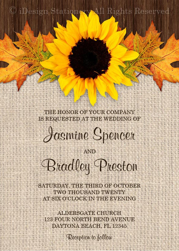 20 sunflower wedding invitation templates free sample example