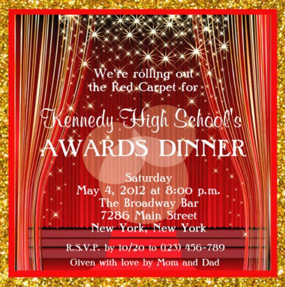 Glitter Red Carpet Hollywood Fundraiser Invitation Card  Free Event Invitation Templates