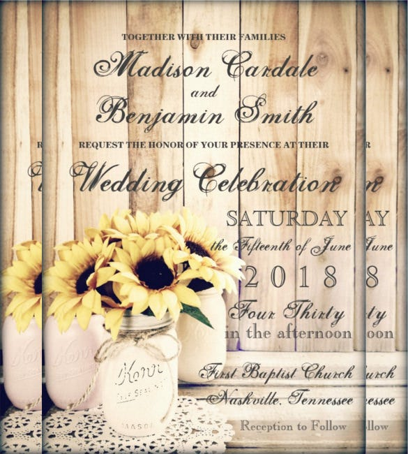 Sunflower Wedding Invitation Templates Free Sample Example - Free mason jar wedding invitation templates