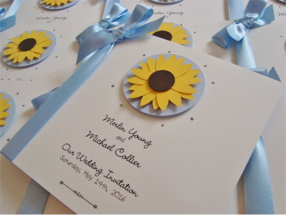 personalised sunflower wedding invitation with ribbon