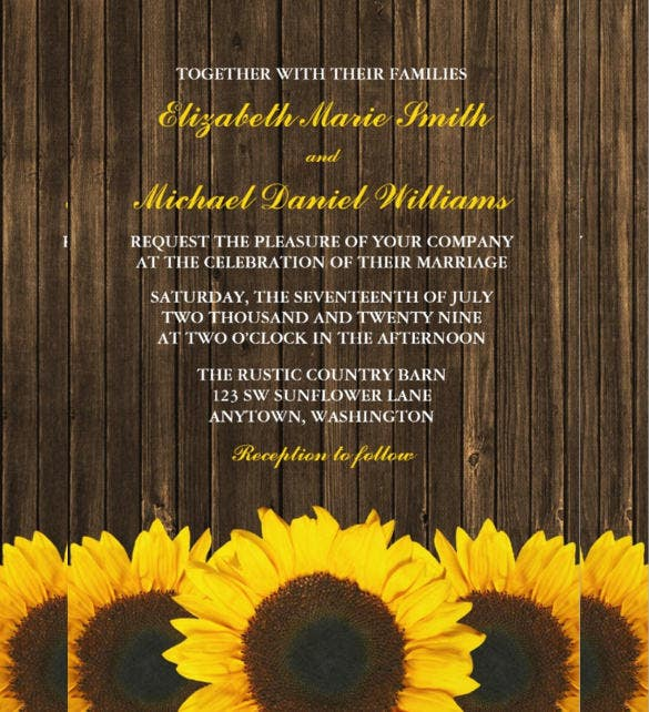 22  sunflower wedding invitation templates  u2013 psd  ai  word  indesign  pages