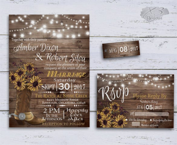 20 sunflower wedding invitation templates free sample example cowboy boot and string lights sunflowers wedding invitation template solutioingenieria Choice Image