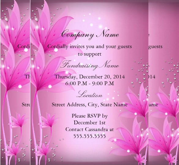 Elegant Pink Floral Fundraiser Invitation  Fundraising Invitation Samples