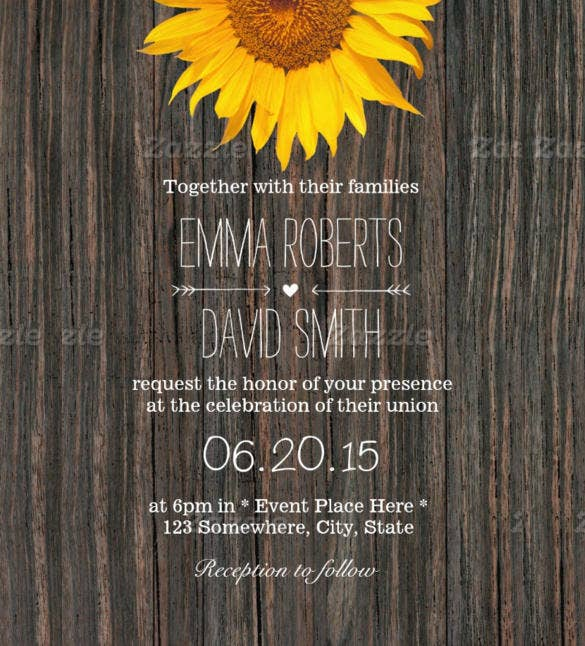rustic dark wood background sunflower wedding invitation