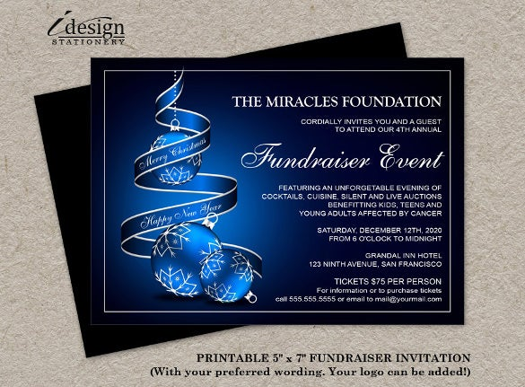 Fundraising Invitation Templates  Free Sample Example Format