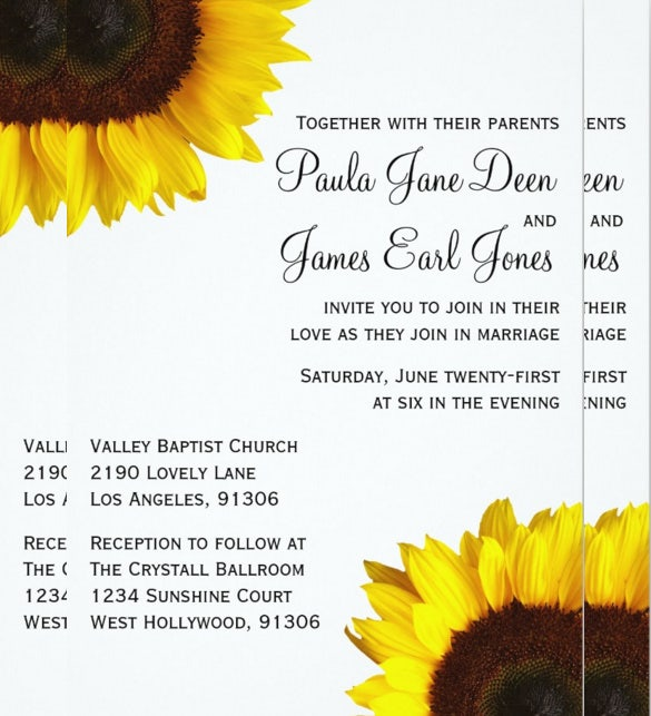 Simple Sunflower Wedding Invitation