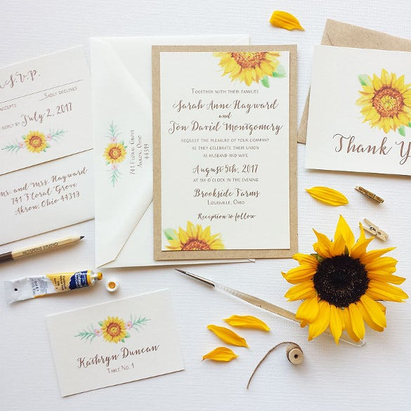 Rustic Boho Sunflower Wedding Invitation