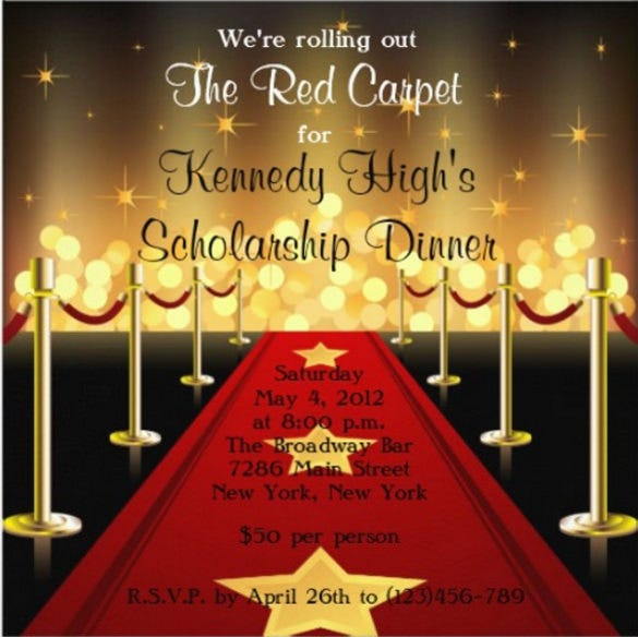 red carpet hollywood fundraiser gala invitation
