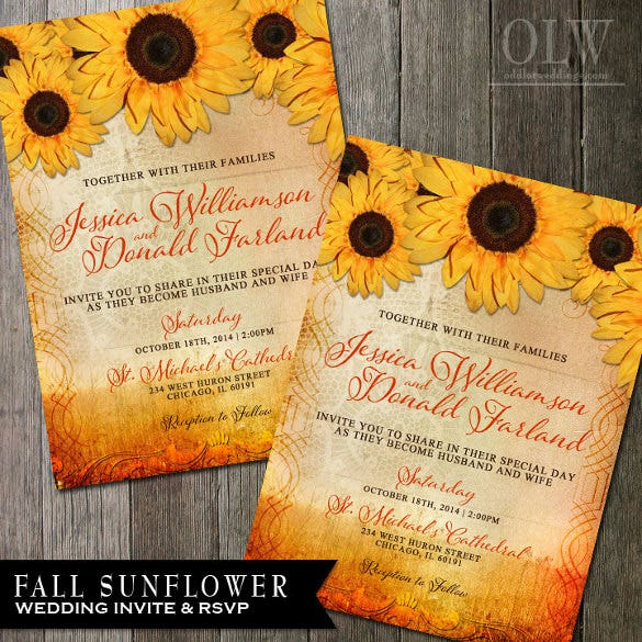 Printable Fall Sunflower Wedding Invitation