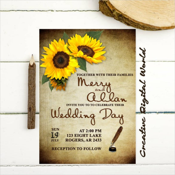 21 Sunflower Wedding Invitation Templates Free Sample