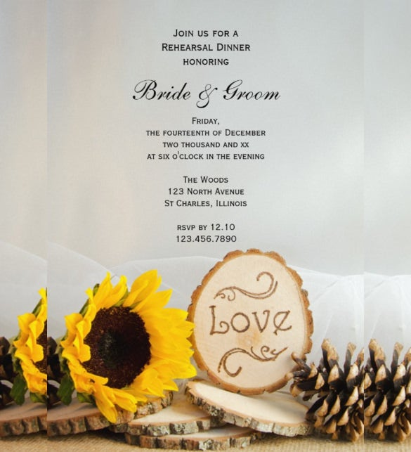 Sunflower Wedding Invitation Template Sample Example Format - Sunflower wedding invitations templates