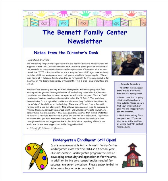 bennett family center newsletter