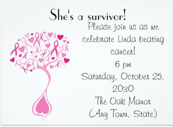 Breast Cancer Survivor Party Fundraiser Invite Invitation  Fundraising Invitation Samples