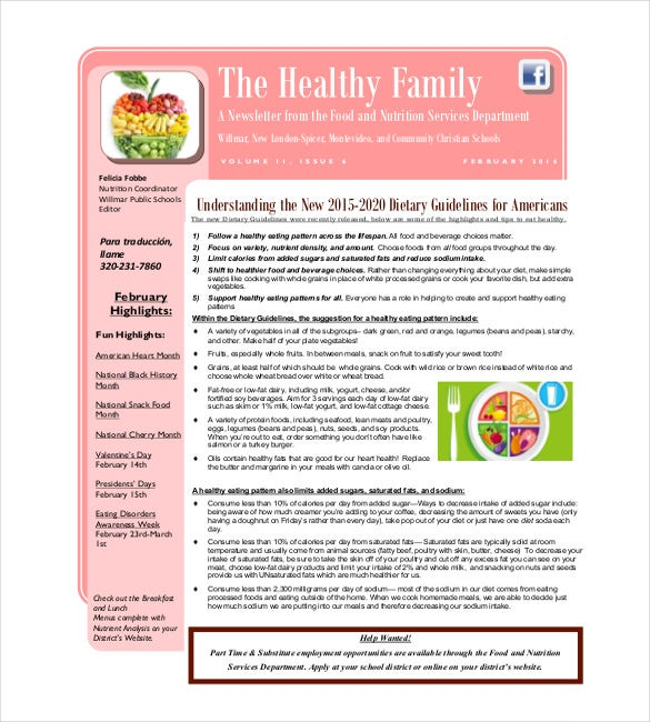 healthy family newsletter template