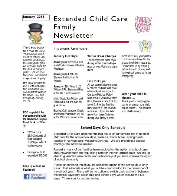 10 family newsletter templates free sample example for Childcare newsletter templates