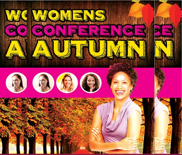 autumn women's conference flyer invitation